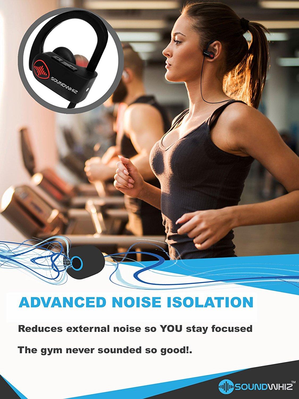722f4ea7eab ... Wireless Bluetooth Running Headphones – SoundWhiz Noise Cancelling  Waterproof Workout Earbuds – w Mic & Siri ...